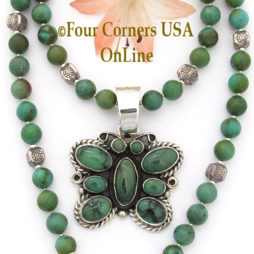 Green Turquoise Butterfly Pendant 21 Inch Turquoise Bead Necklace On Sale Now NAP-09473BDS Four Corners USA OnLine Native American Navajo Silversmith GJ