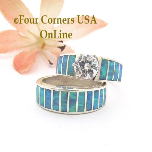 Size 4 1/2 Light Blue Fire Opal Wedding Engagement Ring Set Ella Cowboy WS-1658 Four Corners USA OnLine Native American Jewelry
