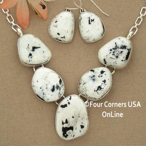 Special Buy Large 5 Stone White Buffalo Turquoise Necklace Earring Jewelry Set Navajo Lyle Piaso NAN-1432 Four Corners USA OnLine Native American Jewelry
