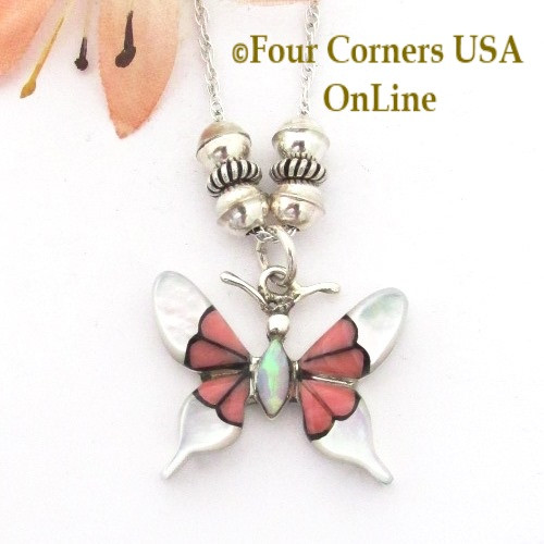 Inlay Pink Coral White Shell Butterfly Pendant 18 Inch Necklace NK-1671 Four Corners USA OnLine Native American Navajo Silver Jewelry