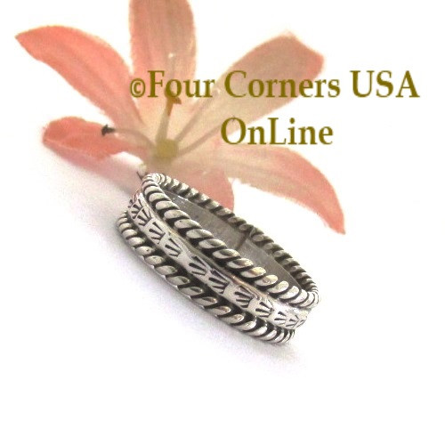 Size 6 1/2 Navajo Silver Stamped Band Ring Janice Johnson Special Buy Final Sale NAR-1897-65 Four Corners USA OnLine Native American Jewelry