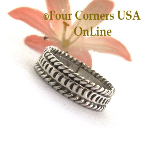 Size 7 Navajo Silver Stamped Band Ring Janice Johnson Special Buy Final Sale NAR-1897-7 Four Corners USA OnLine Native American Jewelry