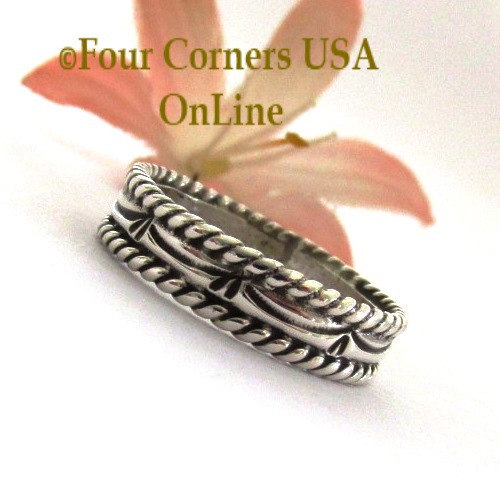 Size 8 Navajo Silver Stamped Band Ring Janice Johnson Special Buy Final Sale NAR-1897-8 Four Corners USA OnLine Native American Jewelry