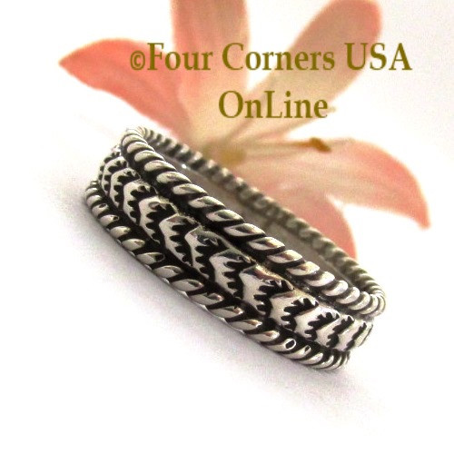 Size 9 Navajo Silver Stamped Band Ring Janice Johnson Special Buy Final Sale NAR-1897-9 Four Corners USA OnLine Native American Jewelry
