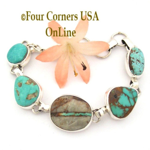 5 Stone Turquoise Mine Adjustable Link Bracelet Navajo Silversmith Tony Garcia Royston Pilot Mountain Boulder Crow Spring Number 8 Turquoise Four Corners USA OnLine Native American Jewelry LB-1416