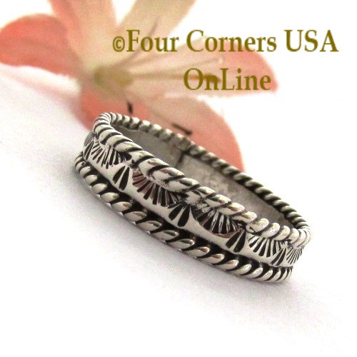 Size 9 Navajo Silver Stamped Band Ring Janice Johnson Special Buy Final Sale NAR-1897-91 Four Corners USA OnLine Native American Jewelry