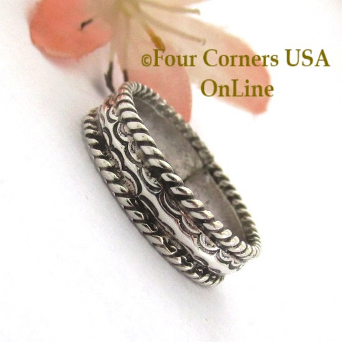 Size 9 Navajo Silver Stamped Band Ring Janice Johnson Special Buy Final Sale NAR-1897-92 Four Corners USA OnLine Native American Jewelry