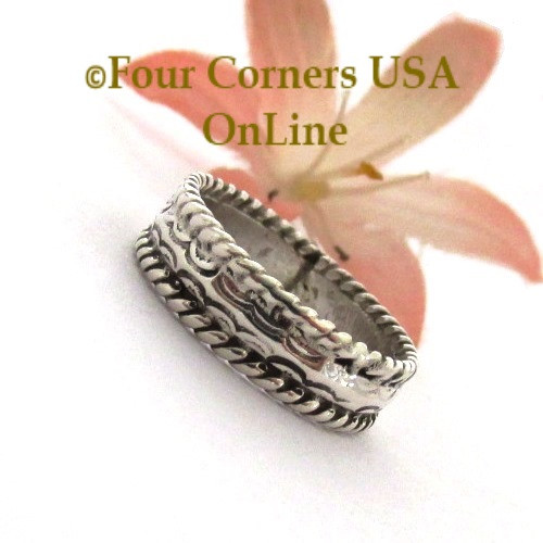 Size 6 3/4 Navajo Silver Stamped Band Ring Janice Johnson Special Buy Final Sale NAR-1897-675 Four Corners USA OnLine Native American Jewelry