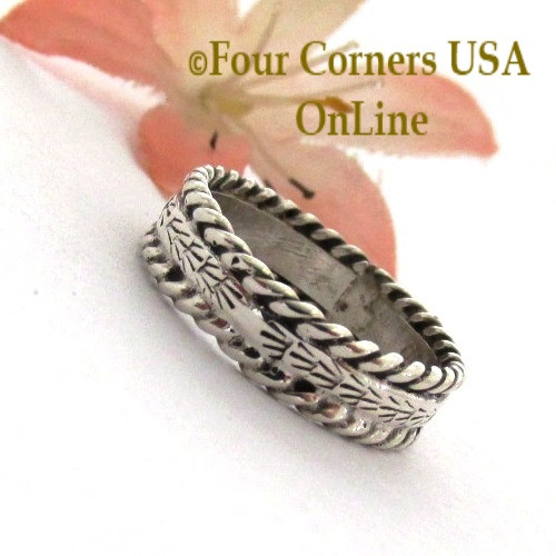 Size 7 Navajo Silver Stamped Band Ring Janice Johnson Special Buy Final Sale NAR-1897-71 Four Corners USA OnLine Native American Jewelry