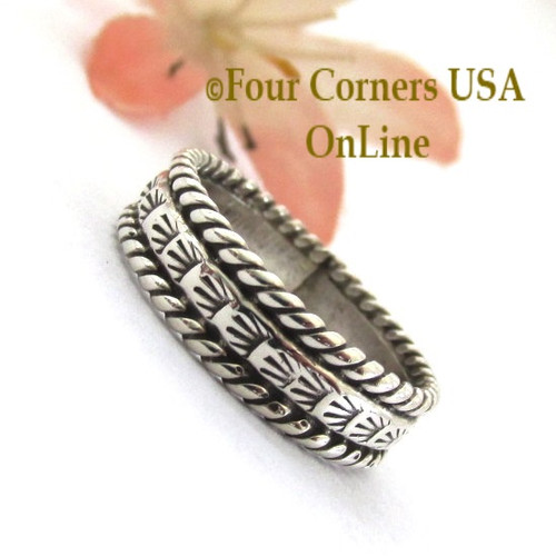 Size 7 Navajo Silver Stamped Band Ring Janice Johnson Special Buy Final Sale NAR-1897-72 Four Corners USA OnLine Native American Jewelry