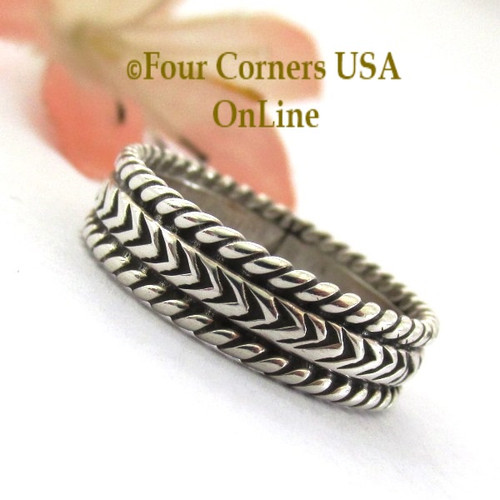 Size 7 3/4 Navajo Silver Stamped Band Ring Janice Johnson Special Buy Final Sale NAR-1897-775 Four Corners USA OnLine Native American Jewelry