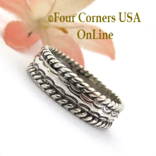Size 8 Navajo Silver Stamped Band Ring Janice Johnson Special Buy Final Sale NAR-1897-81 Four Corners USA OnLine Native American Jewelry