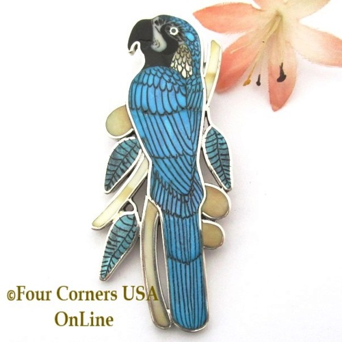 Blue Gold Macaw Parrot Inlay Pin Pendant Wearable Jewelry Art Zuni Craftsman Harlan Coonsis On Sale Now BGNAP-1694 Four Corners USA OnLine Native American Jewelry