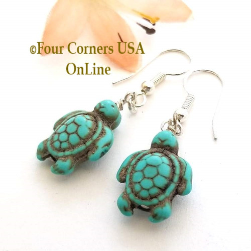 Carved Turtle Earrings Turquoise Magnesite Four Corners USA OnLine American Artisan Jewelry AA-1801