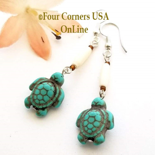 Carved Turtle Earrings Turquoise Magnesite Buffalo Bone American Artisan Four Corners USA OnLine Jewelry AA-1802
