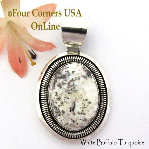 White Buffalo Turquoise Pendant Navajo Artisan Alice Johnson NAP-1757 Four Corners USA OnLine Native American Silver Jewelry