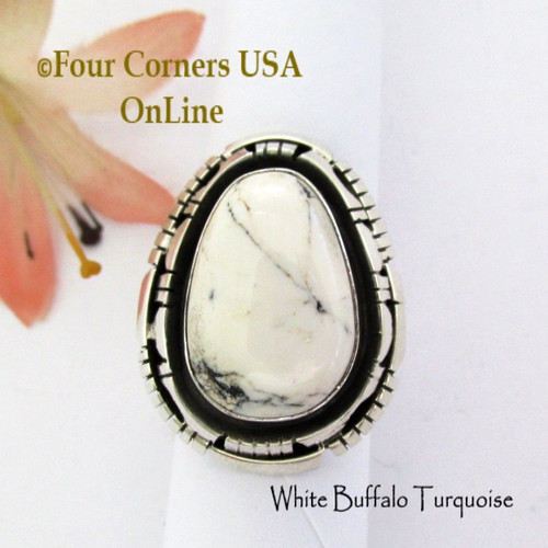 Size 7 1/2 White Buffalo Turquoise Ring Navajo Bobby Becenti NAR-1898 Four Corners USA OnLine Native American Silver Jewelry