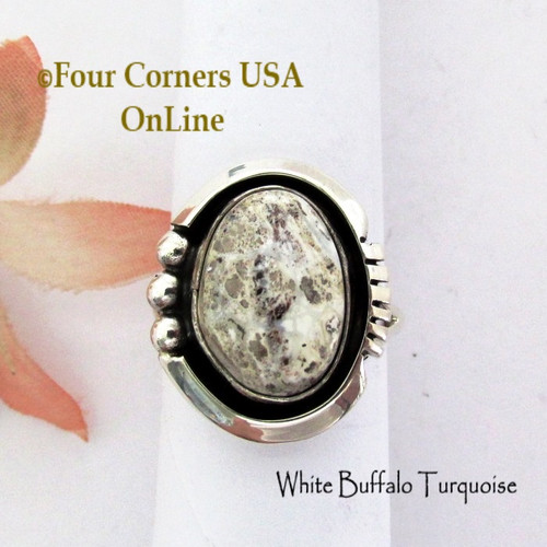 Size 7 3/4 White Buffalo Turquoise Ring Navajo Alice Johnson NAR-1911 Four Corners USA OnLine Native American Silver Jewelry