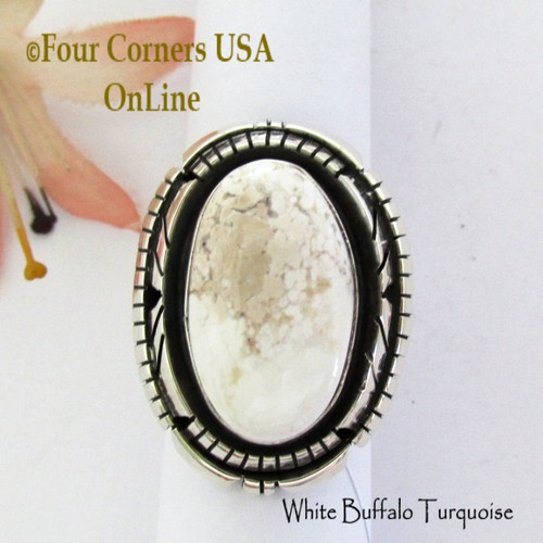 Size 8 3/4 White Buffalo Turquoise Ring Navajo Bobby Becenti NAR-1901 Four Corners USA OnLine Native American Silver Jewelry