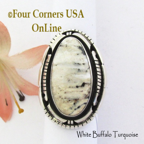 Size 9 1/2 White Buffalo Turquoise Ring Navajo Bobby Becenti NAR-1902 Four Corners USA OnLine Native American Silver Jewelry