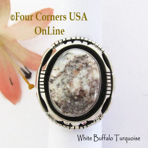 Size 6 White Buffalo Turquoise Ring Navajo Bobby Becenti NAR-1903 Four Corners USA OnLine Native American Silver Jewelry