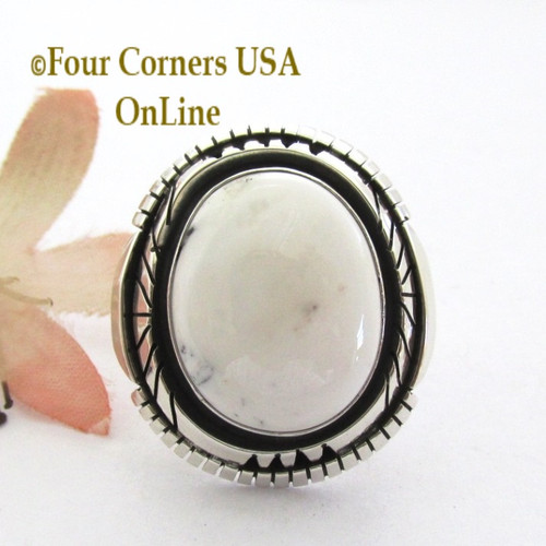 Size 7 1/2 White Buffalo Turquoise Ring Navajo Bobby Becenti NAR-1904 Four Corners USA OnLine Native American Silver Jewelry