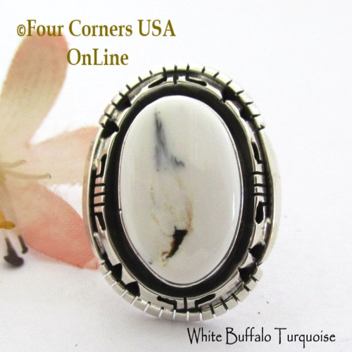 Size 6 White Buffalo Turquoise Ring Navajo Bobby Becenti NAR-1905 Four Corners USA OnLine Native American Silver Jewelry