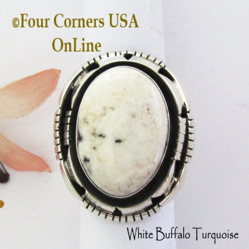 Size 7 1/2 White Buffalo Turquoise Ring Navajo Bobby Becenti NAR-1907 Four Corners USA OnLine Native American Silver Jewelry
