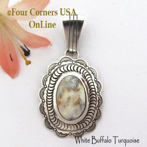 White Buffalo Turquoise Pendant Navajo Bobby Becenti NAP-1777 Four Corners USA OnLine Native American Silver Jewelry