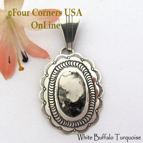 White Buffalo Turquoise Pendant Navajo Bobby Becenti NAP-1779 Four Corners USA OnLine Native American Silver Jewelry