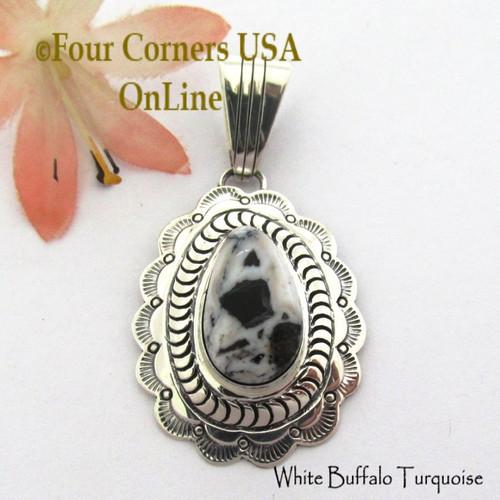 White Buffalo Turquoise Pendant Navajo Bobby Becenti NAP-1782 Four Corners USA OnLine Native American Silver Jewelry