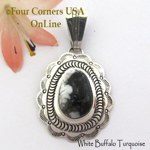 On Sale Now! White Buffalo Turquoise Pendant Navajo Bobby Becenti NAP-1784 Four Corners USA OnLine Native American Silver Jewelry