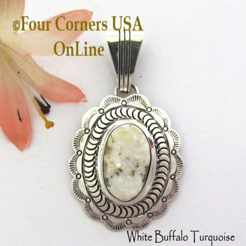White Buffalo Turquoise Pendant Navajo Bobby Becenti NAP-1785 Four Corners USA OnLine Native American Silver Jewelry