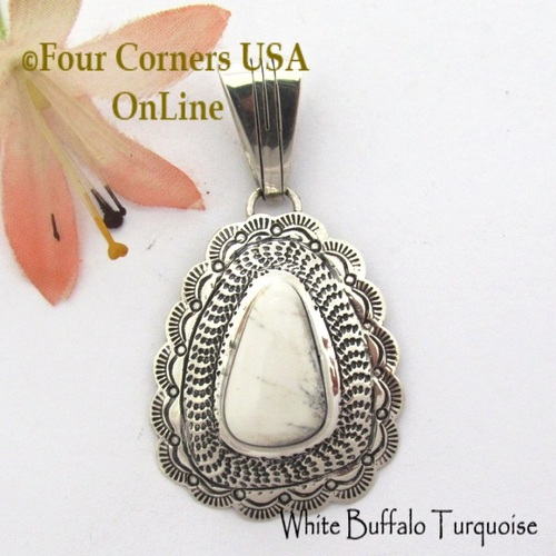 On Sale Now! White Buffalo Turquoise Pendant Navajo Bobby Becenti NAP-1789 Four Corners USA OnLine Native American Silver Jewelry