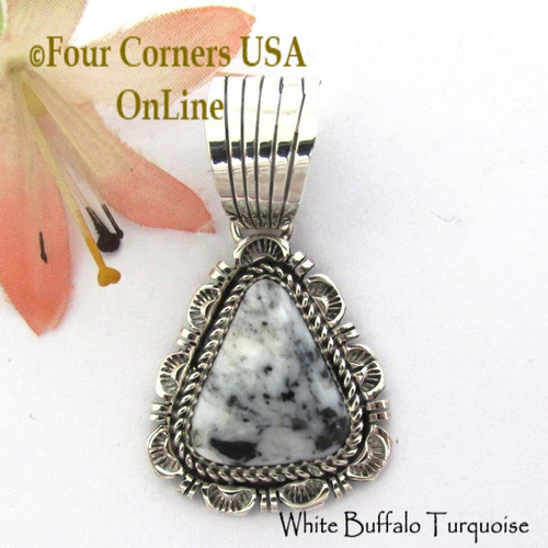 White Buffalo Turquoise Pendant Navajo Bobby Becenti NAP-1765 Four Corners USA OnLine Native American Silver Jewelry