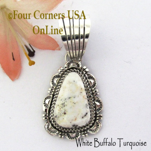 White Buffalo Turquoise Pendant Navajo Bobby Becenti NAP-1766 Four Corners USA OnLine Native American Silver Jewelry