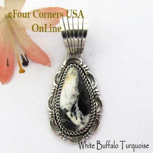 White Buffalo Turquoise Pendant Navajo Bobby Becenti NAP-1768 Four Corners USA OnLine Native American Silver Jewelry