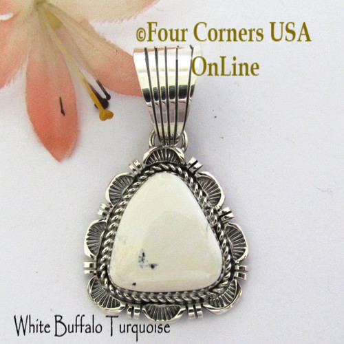 On Sale Now! White Buffalo Turquoise Pendant Navajo Bobby Becenti NAP-1769 Four Corners USA OnLine Native American Silver Jewelry