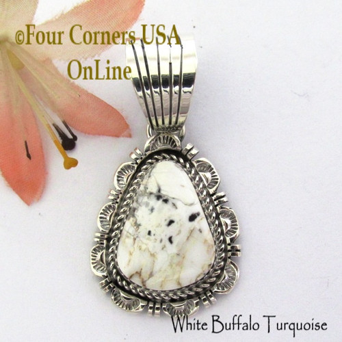 White Buffalo Turquoise Pendant Navajo Bobby Becenti NAP-1770 Four Corners USA OnLine Native American Silver Jewelry