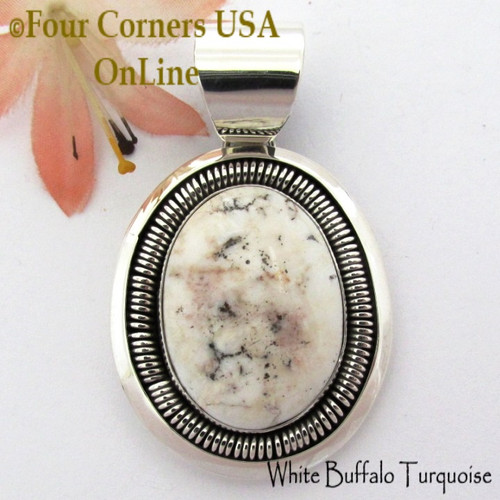 White Buffalo Turquoise Pendant Navajo Artisan Alice Johnson NAP-1758 Four Corners USA OnLine Native American Silver Jeweler