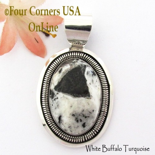 On Sale Now! White Buffalo Turquoise Pendant Navajo Artisan Alice Johnson NAP-1759 Four Corners USA OnLine Native American Silver Jeweler