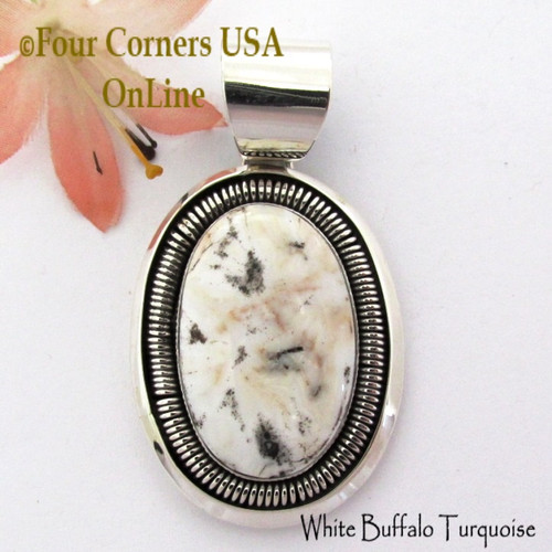 White Buffalo Turquoise Pendant Navajo Artisan Alice Johnson NAP-1760 Four Corners USA OnLine Native American Silver Jeweler