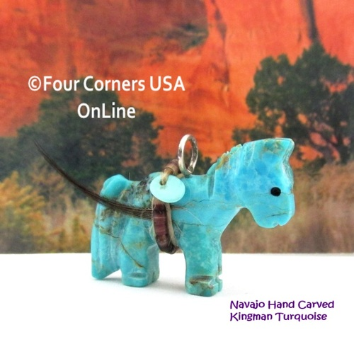 Carved Horse Kingman Turquoise Pendant NAM-1433 Navajo Artisan Jeff Howe Four Corners USA OnLine Native American Arts Crafts