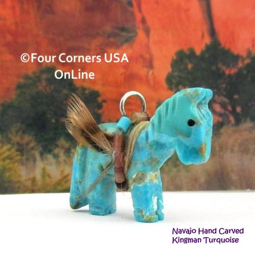 Carved Horse Kingman Turquoise Pendant NAM-1435 Navajo Artisan Jeff Howe Four Corners USA OnLine Native American Arts Crafts