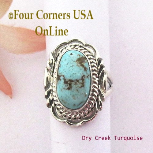 Size 7 Dry Creek Turquoise Sterling Ring Navajo Artisan Virgil Chee NAR-1894 Four Corners USA OnLine Native American Silver Jewelry