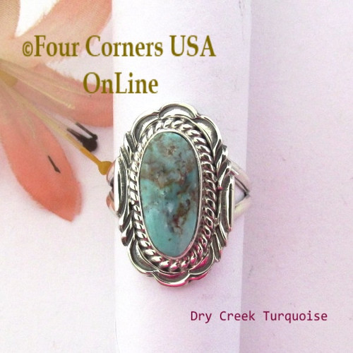 On Sale Now Size 7 Dry Creek Turquoise Sterling Ring Navajo Artisan Virgil Chee NAR-1896 Four Corners USA OnLine Native American Silver Jewelry