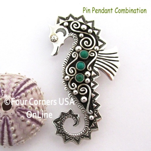 Gaspeite Seahorse Pin Brooch Pendant Navajo Lee Charley NAP-1730 On Sale Now at Four Corners USA OnLine Native American Silver Jewelers