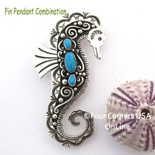 Turquoise Seahorse Pin Brooch Pendant Navajo Lee Charley NAP-1728 On Sale Now at Four Corners USA OnLine Native American Silver Jewelers