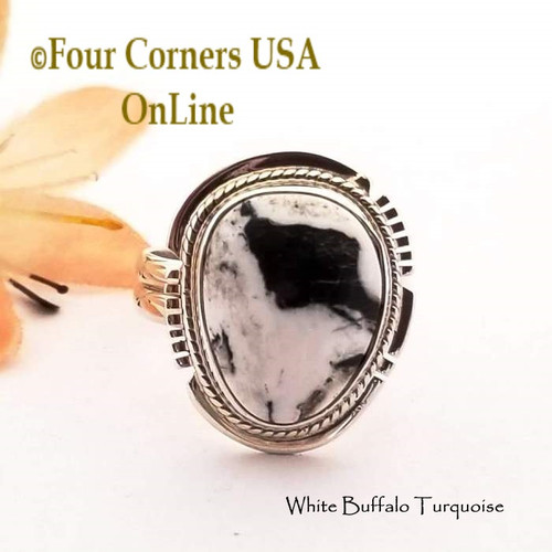 Size 8 3/4 White Buffalo Turquoise Sterling Silver Ring Navajo Artisan Larson L Lee RNG-1852 Four Corners USA OnLine Native American Jewelry