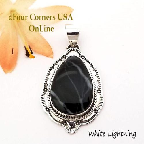On Sale Now White Lightning Pendant Navajo Joe Piaso Jr NAP-1724 Four Corners USA OnLine Native American Silver Jewelers